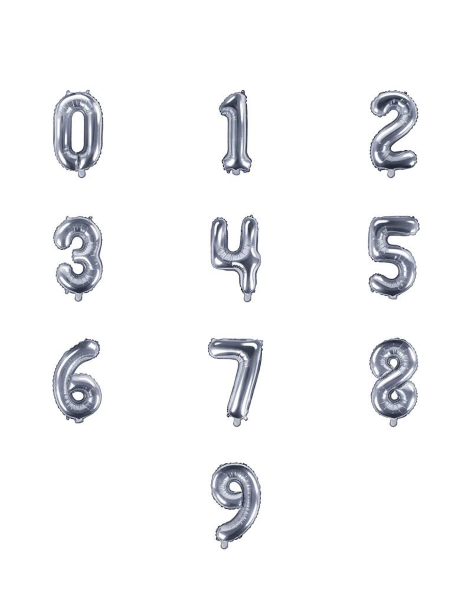 PartyDeco Folieballonnen zilver cijfers 0 t/m 9 (35 cm) - prijs per stuk