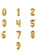 PartyDeco Folieballonnen goud cijfers 0 t/m 9 (35 cm) - prijs per stuk