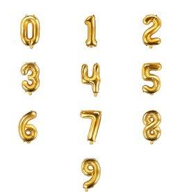 PartyDeco Folieballonnen goud cijfers 0 t/m 9 (35 cm)