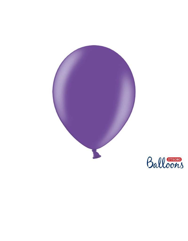 Strong Balloons Ballonnen metallic paars (30 cm) | 10 stuks
