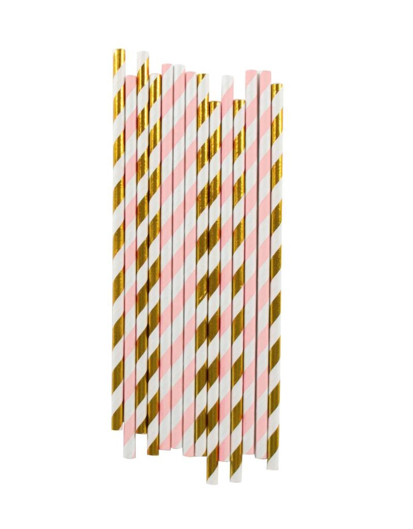My Little Day Papieren rietjes roze & goud | 25 stuks