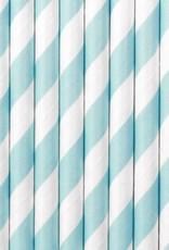 PartyDeco Papieren rietjes lichtblauw gestreept | 10 stuks