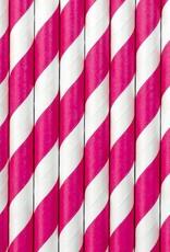 PartyDeco Papieren rietjes roze gestreept | 10 stuks