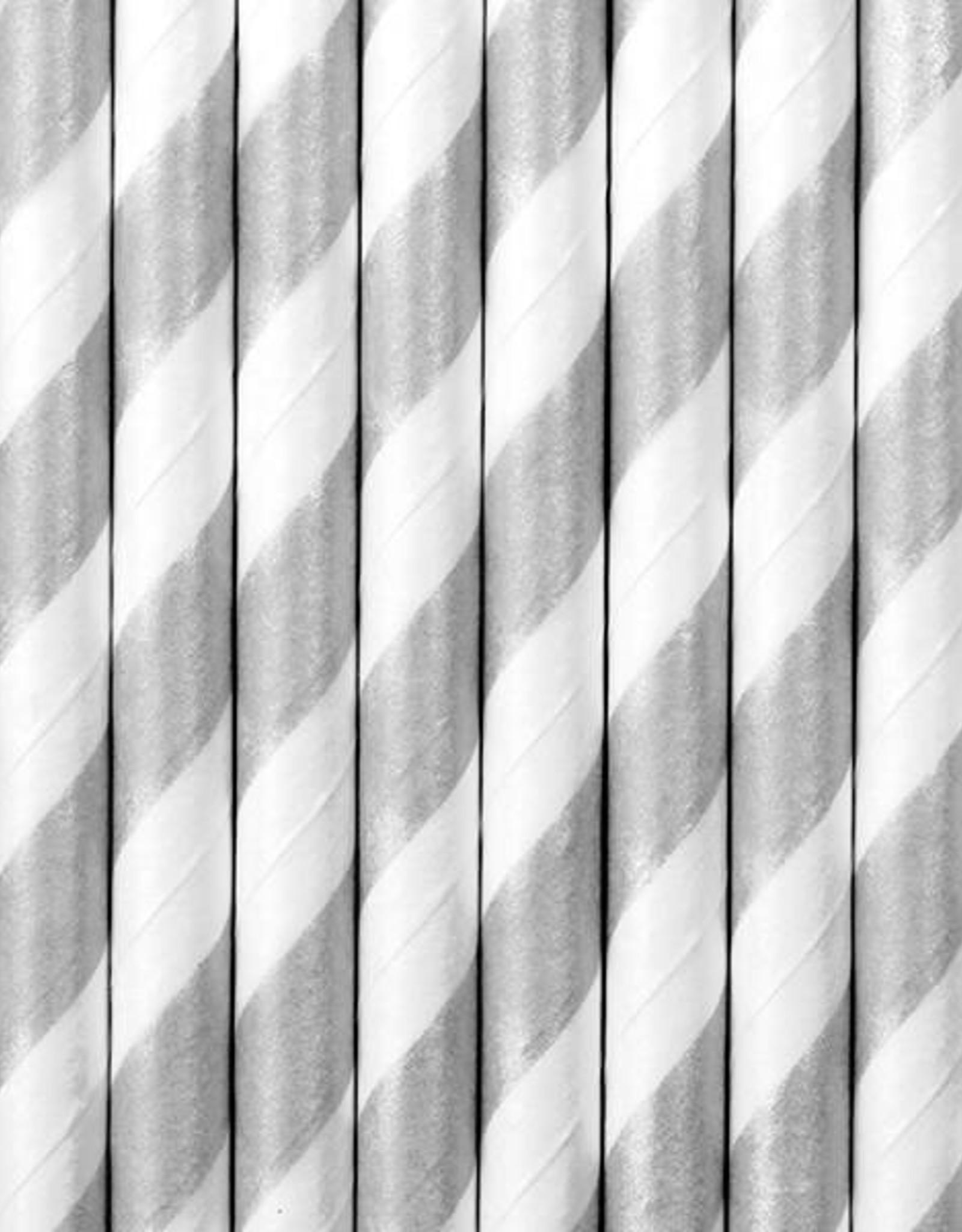 PartyDeco Papieren rietjes zilver gestreept | 10 stuks