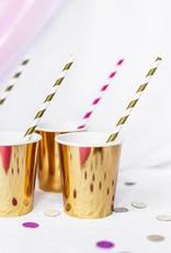 PartyDeco Papieren rietjes goud gestreept | 10 stuks