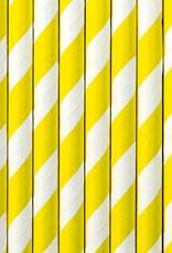 PartyDeco Papieren rietjes geel gestreept | 10 stuks
