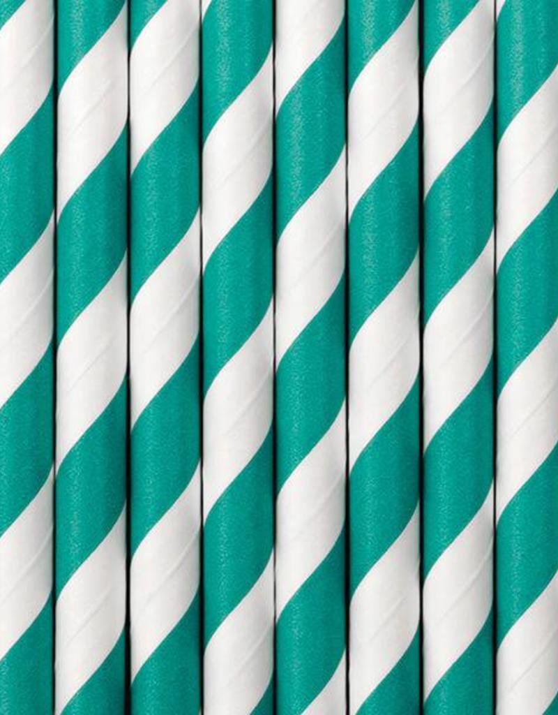 PartyDeco Papieren rietjes turquoise gestreept | 10 stuks