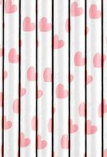 PartyDeco Papieren rietjes lichtroze hartjes | 10 stuks