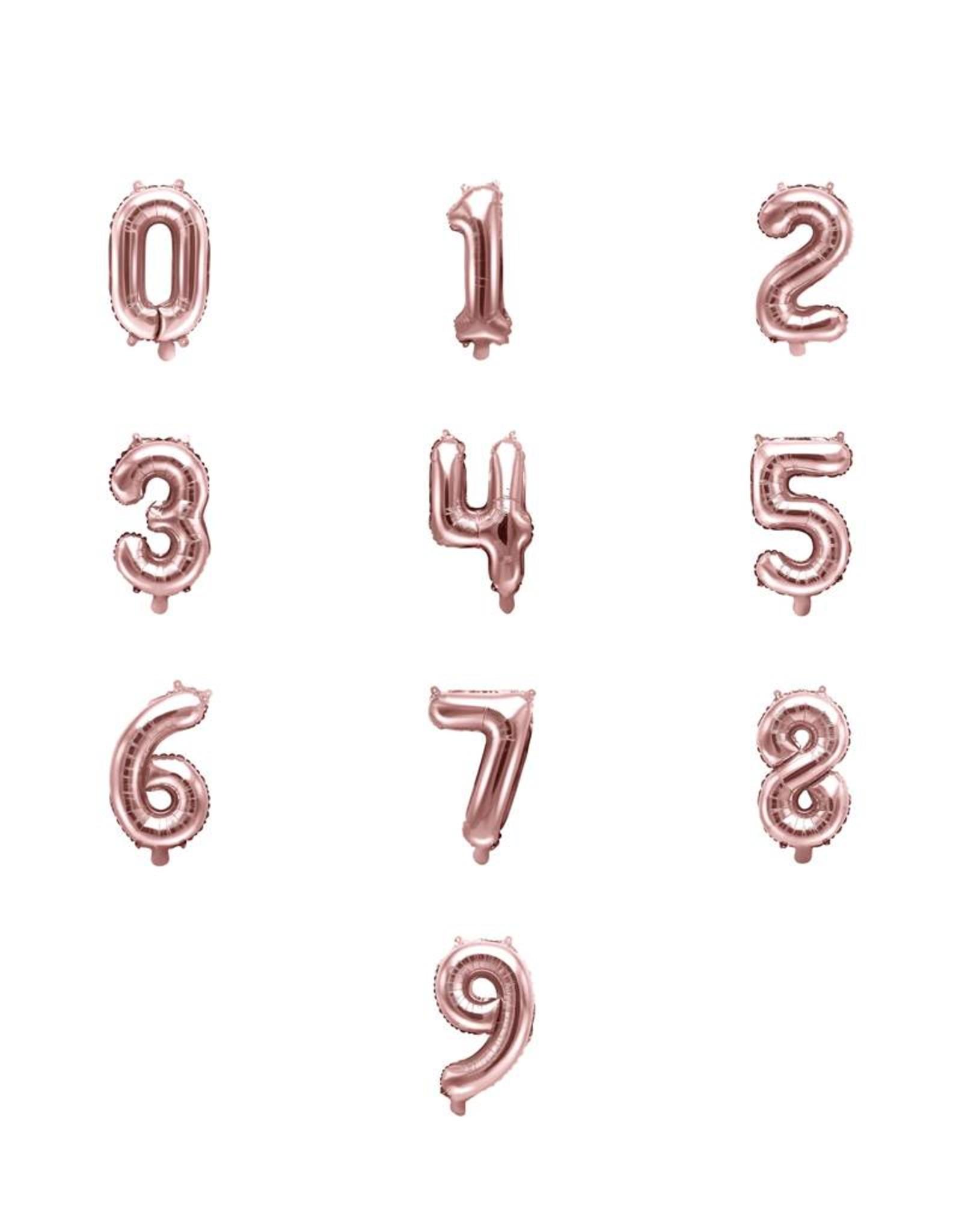 PartyDeco Folie ballonnen rosé goud cijfers 0 t/m 9 (35 cm) - prijs per stuk
