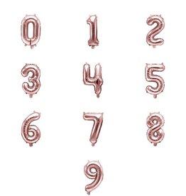 PartyDeco Folie ballonnen rosé goud cijfers 0 t/m 9 (35 cm)