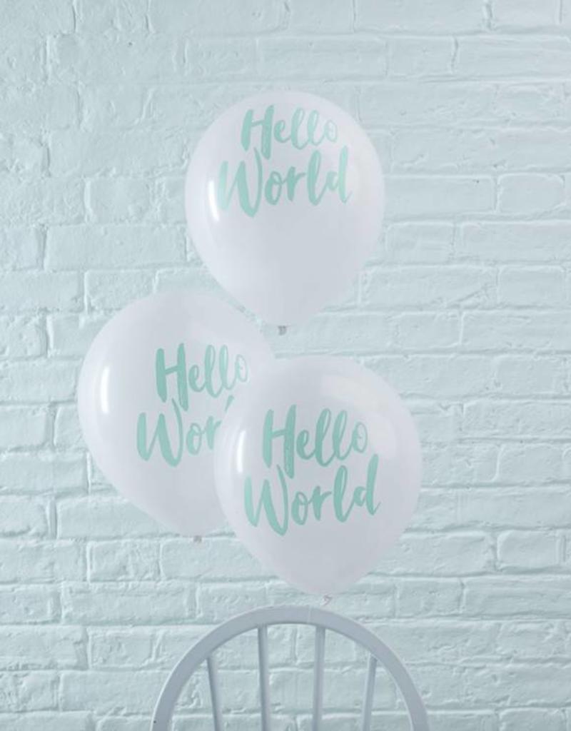 Ginger Ray Ballonnen Hello World mint | 10 stuks