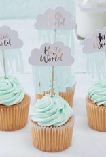 Ginger Ray Cupcake prikkers Hello World | 10 stuks
