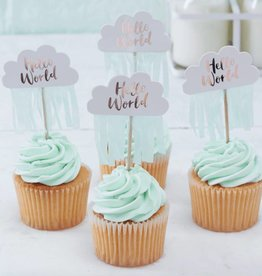 Ginger Ray Cupcake prikkers Hello World | 10st
