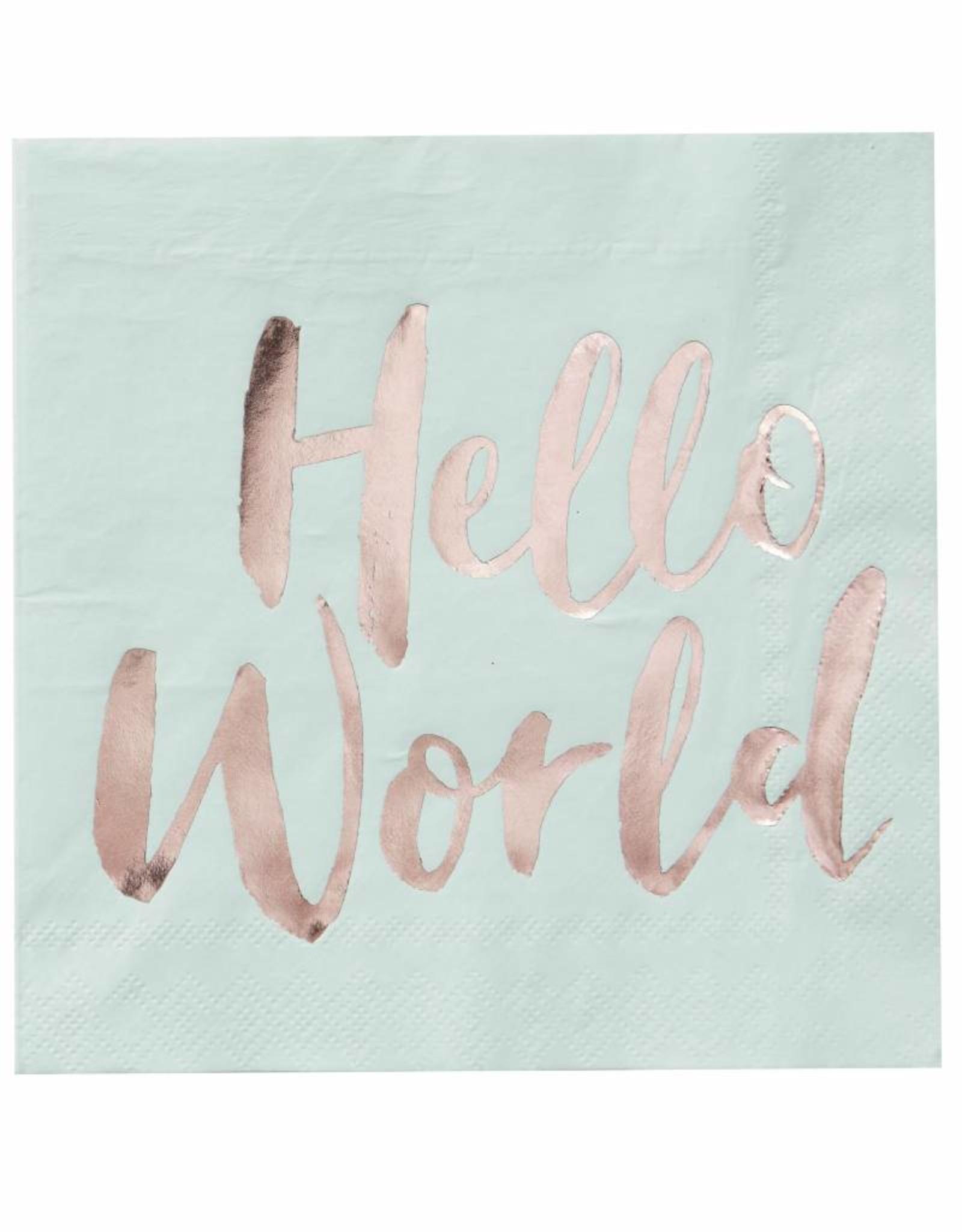 Ginger Ray Servetten  Hello World | 20 stuks