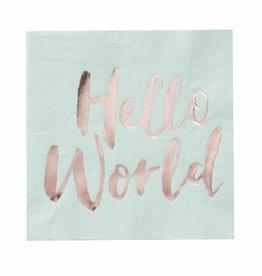 Ginger Ray Servetten mint Hello World | 20st