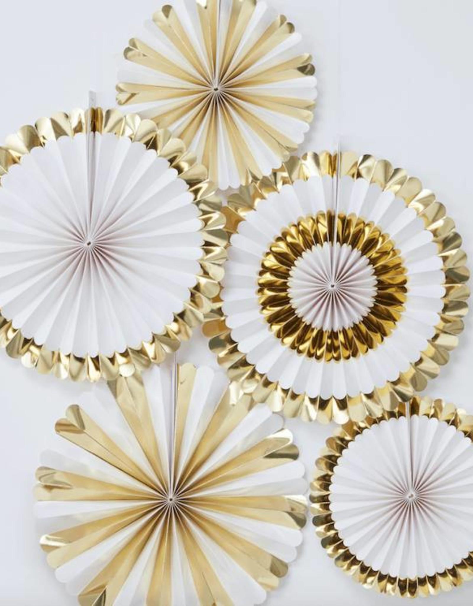 Ginger Ray Papieren waaiers wit & goud | 5 stuks