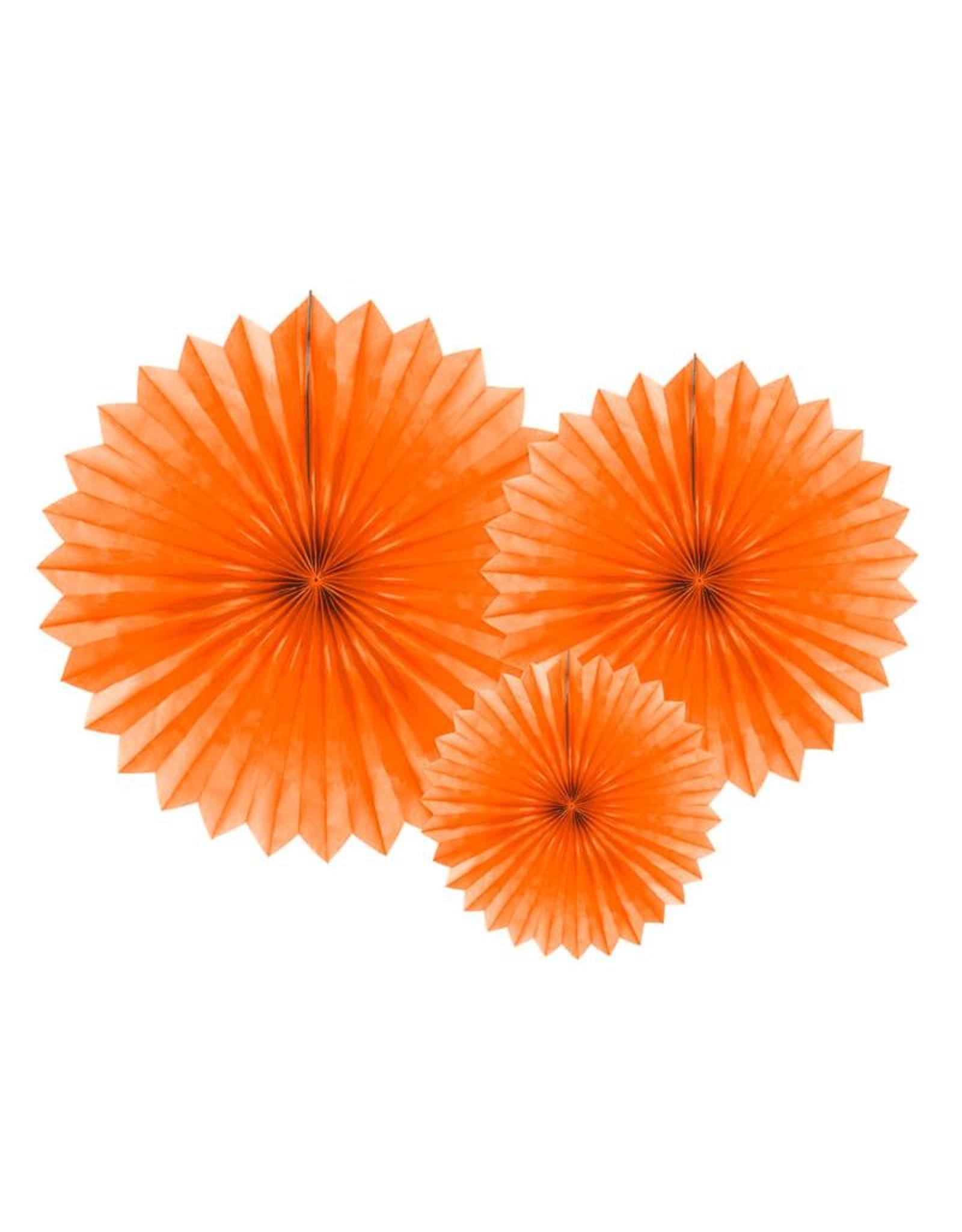 PartyDeco Papieren waaiers 'Tissue fans' oranje | 3 stuks