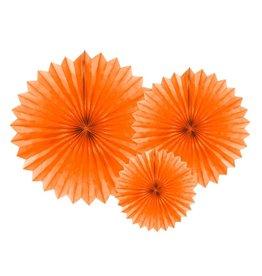 PartyDeco Papieren waaiers 'Tissue fans' oranje | 3st