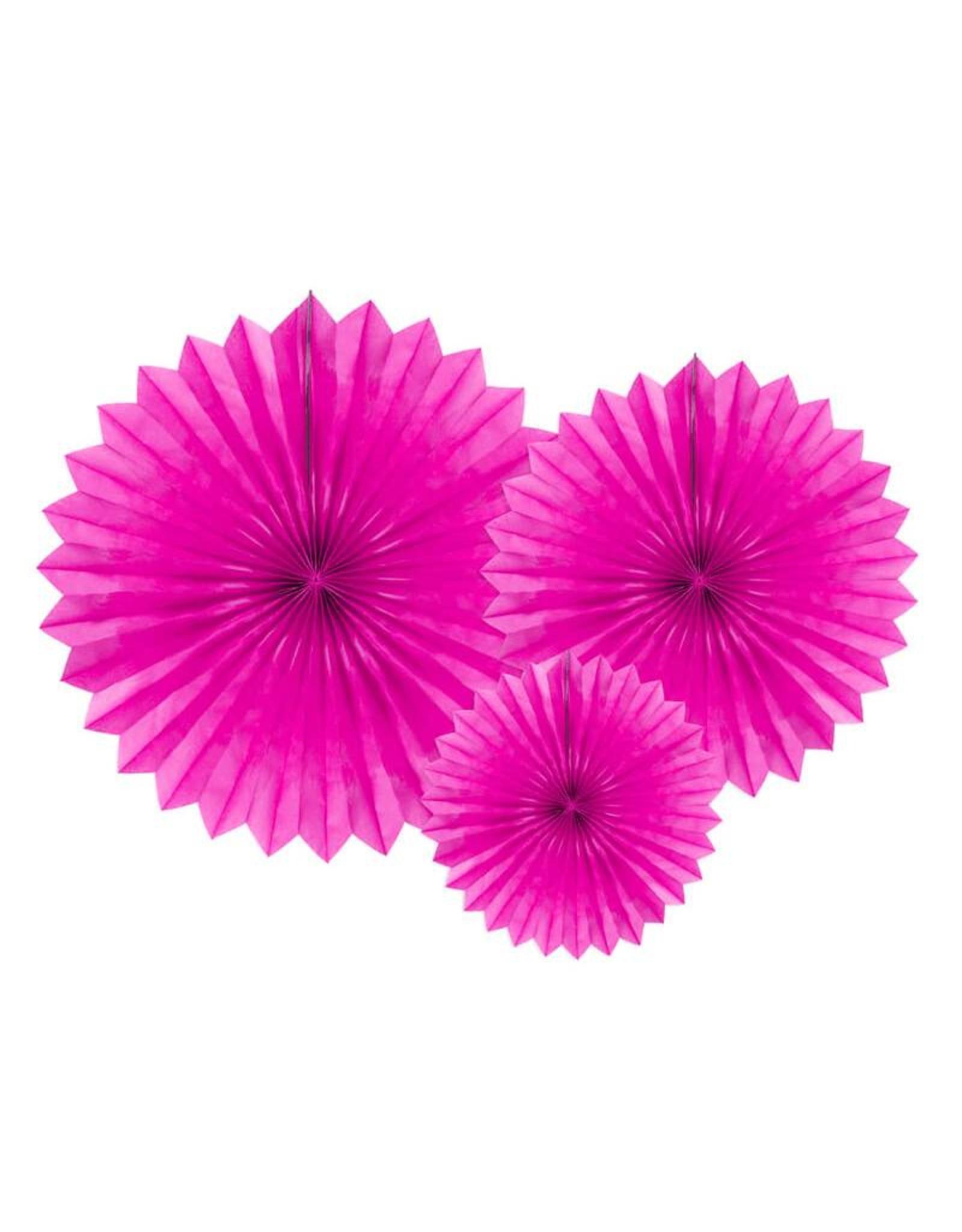 PartyDeco Papieren waaiers 'Tissue fans' roze | 3 stuks