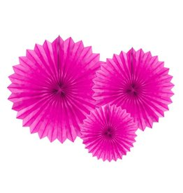 PartyDeco Papieren waaiers 'Tissue fans' roze | 3st