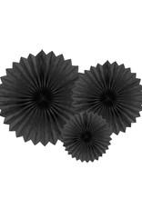 PartyDeco Papieren waaiers 'Tissue fans' zwart | 3 stuks