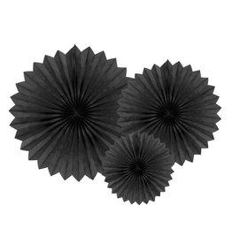 PartyDeco Papieren waaiers 'Tissue fans' zwart | 3st