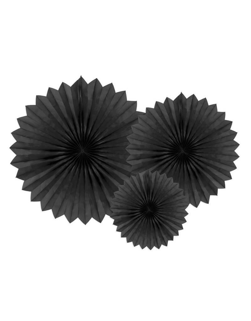 PartyDeco Papieren waaiers 'Tissue fans' zwart   3 stuks