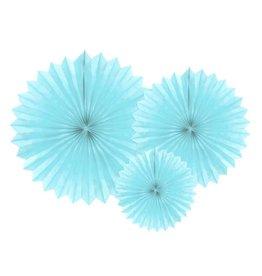 PartyDeco Papieren waaiers 'Tissue fans' lichtblauw | 3st