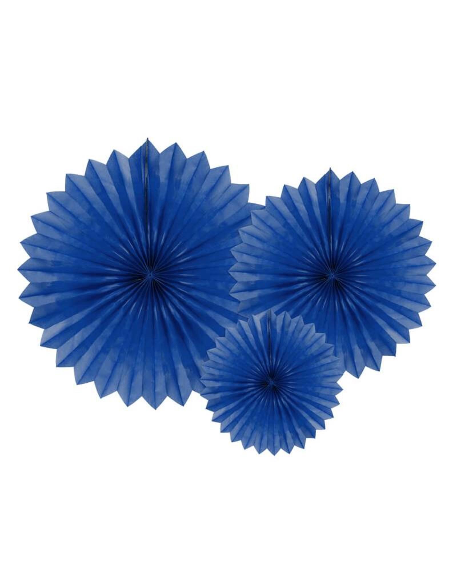 PartyDeco Papieren waaiers 'Tissue fans' donkerblauw | 3 stuks