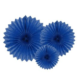 PartyDeco Papieren waaiers 'Tissue fans' donkerblauw | 3st