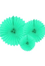 PartyDeco Papieren waaiers 'Tissue fans' mint | 3 stuks