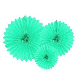 PartyDeco Papieren waaiers 'Tissue fans' mint | 3st