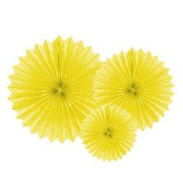 PartyDeco Papieren waaiers 'Tissue fans' geel | 3 st