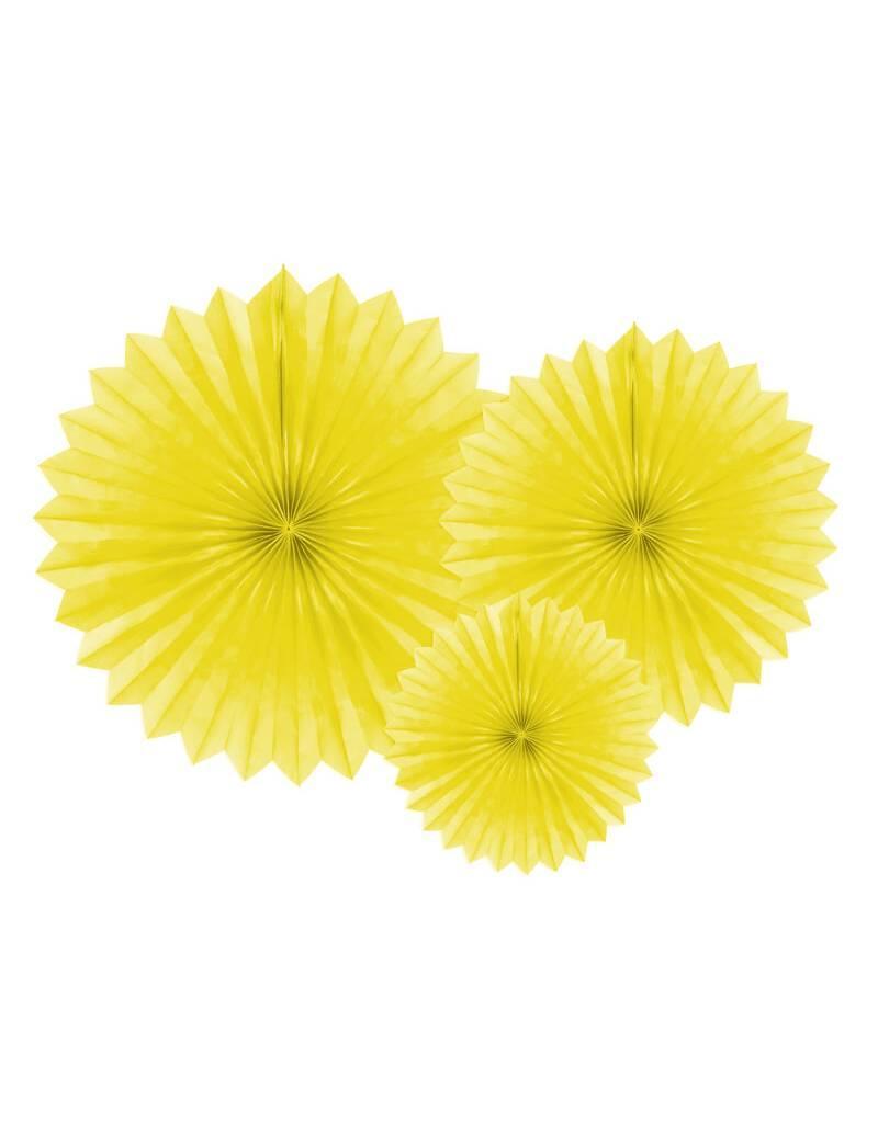 PartyDeco Papieren waaiers 'Tissue fans' geel | 3  stuks