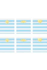 PartyDeco Zakjes strepen lichtblauw & wit | 6 stuks
