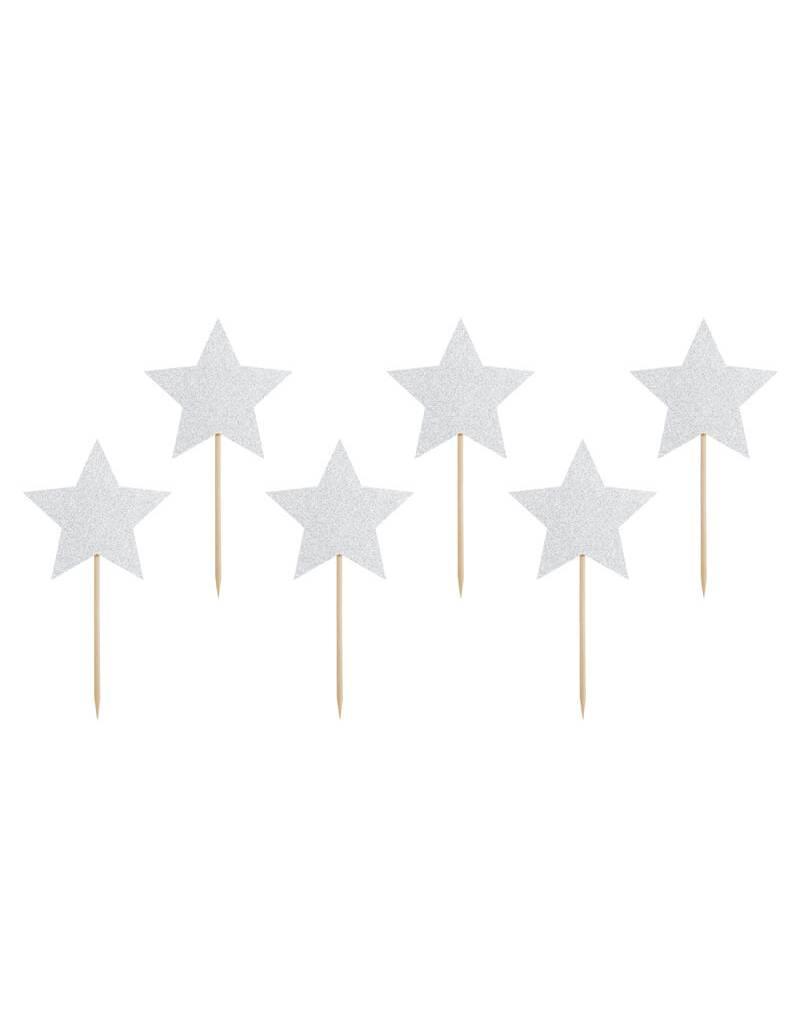 PartyDeco Cupcake prikkers zilveren sterren | 6 stuks