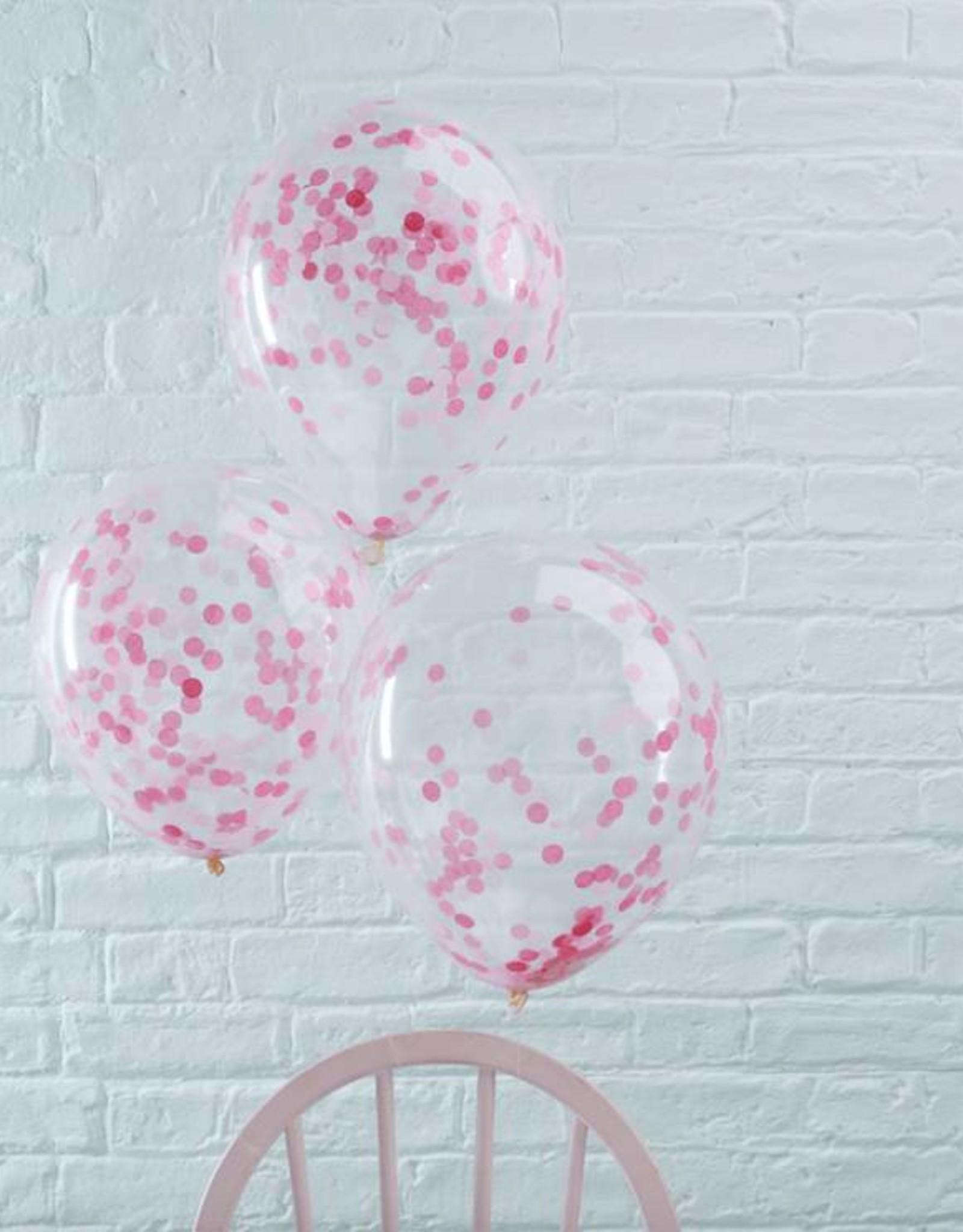 Ginger Ray Confetti ballonnen roze | 5 stuks