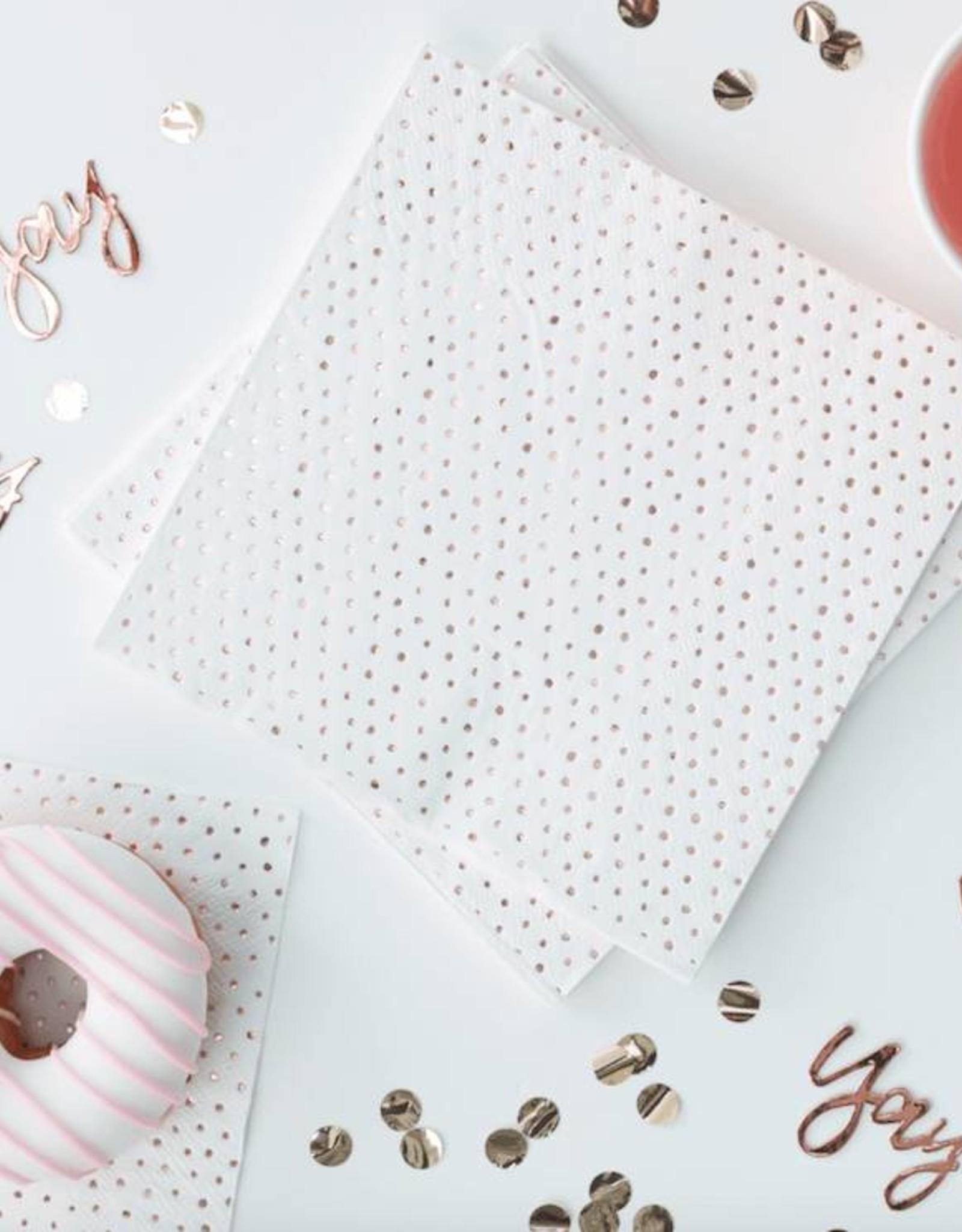 Ginger Ray Servetten dots wit & rosé goud | 16 stuks