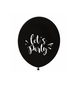 House of Gia Ballon XL 'Let's party' zwart & wit (60 cm) | 1st