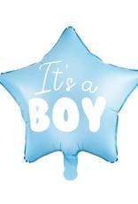 PartyDeco Folie ballon blauwe ster 'It's a boy' | 48 cm