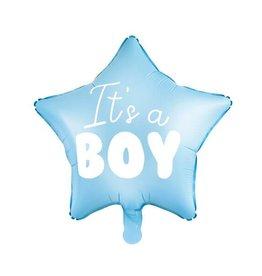 PartyDeco Folieballon blauwe ster 'It's a boy' | 48 cm
