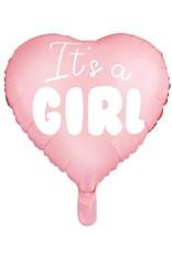 PartyDeco Folieballon roze hart 'It's a girl'   48 cm