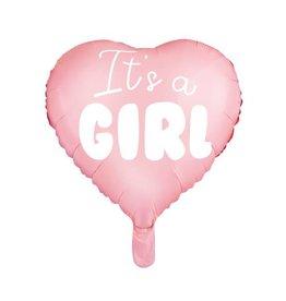 PartyDeco Folieballon roze hart 'It's a girl' | 48 cm