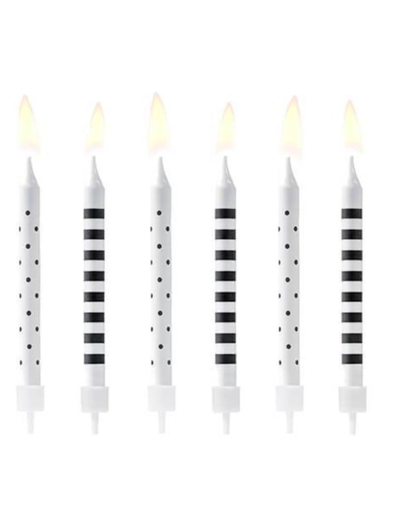 PartyDeco Kaarsjes zwart & wit | 6 stuks
