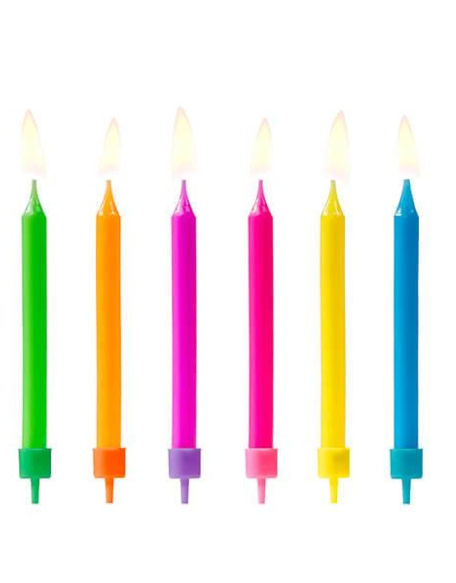 PartyDeco Gekleurde kaarsjes | 6 stuks