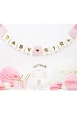 PartyDeco Slinger roze & goud 'Baby girl' | 1,75 meter