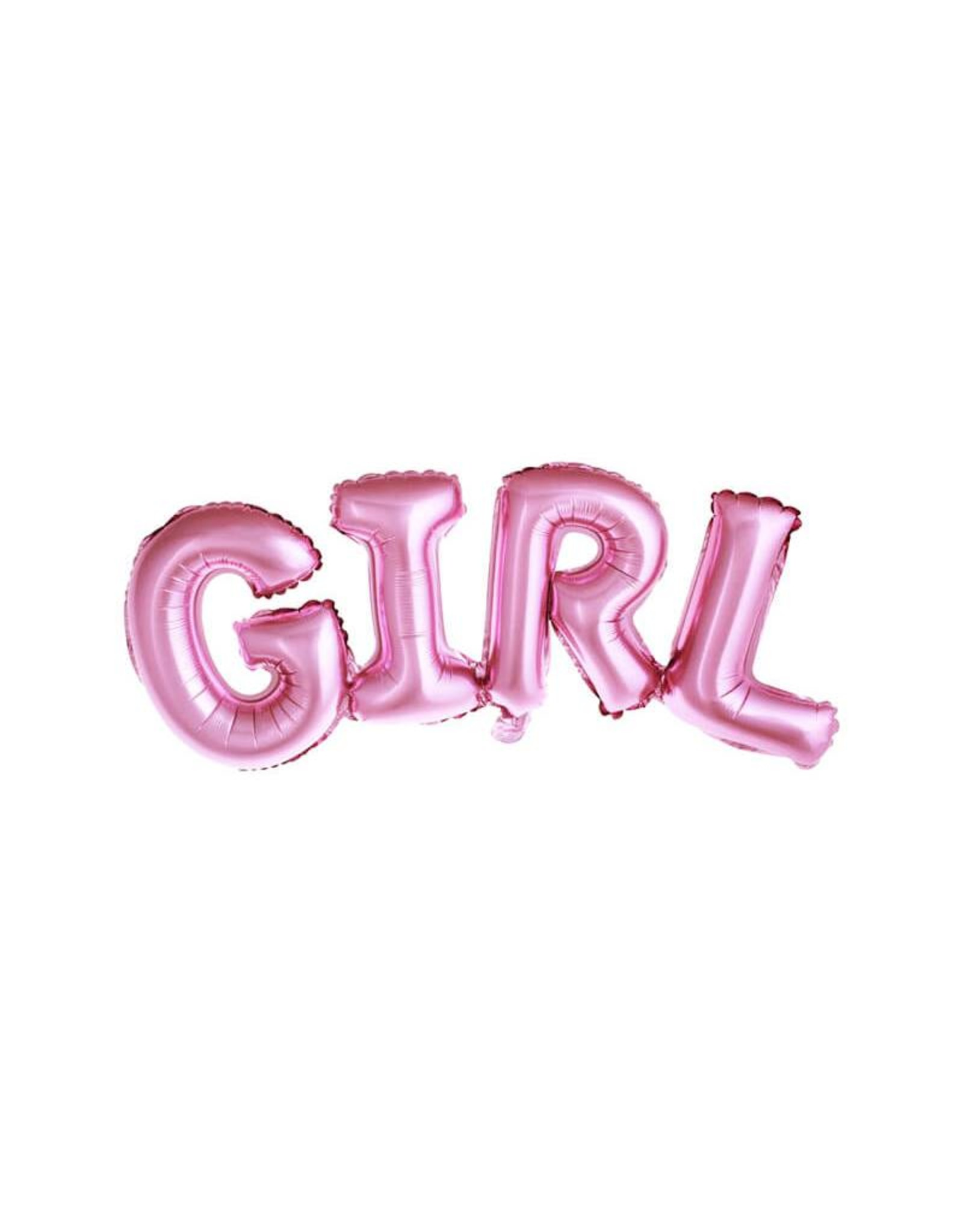 PartyDeco Folieballon 'Girl' roze