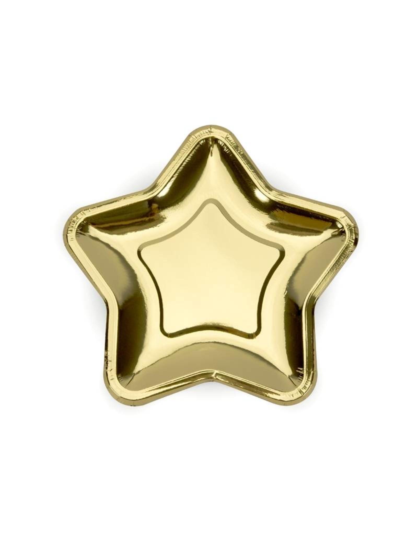 Papieren bordjes ster goud | 8 stuks