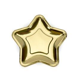 Papieren bordjes ster goud | 8st