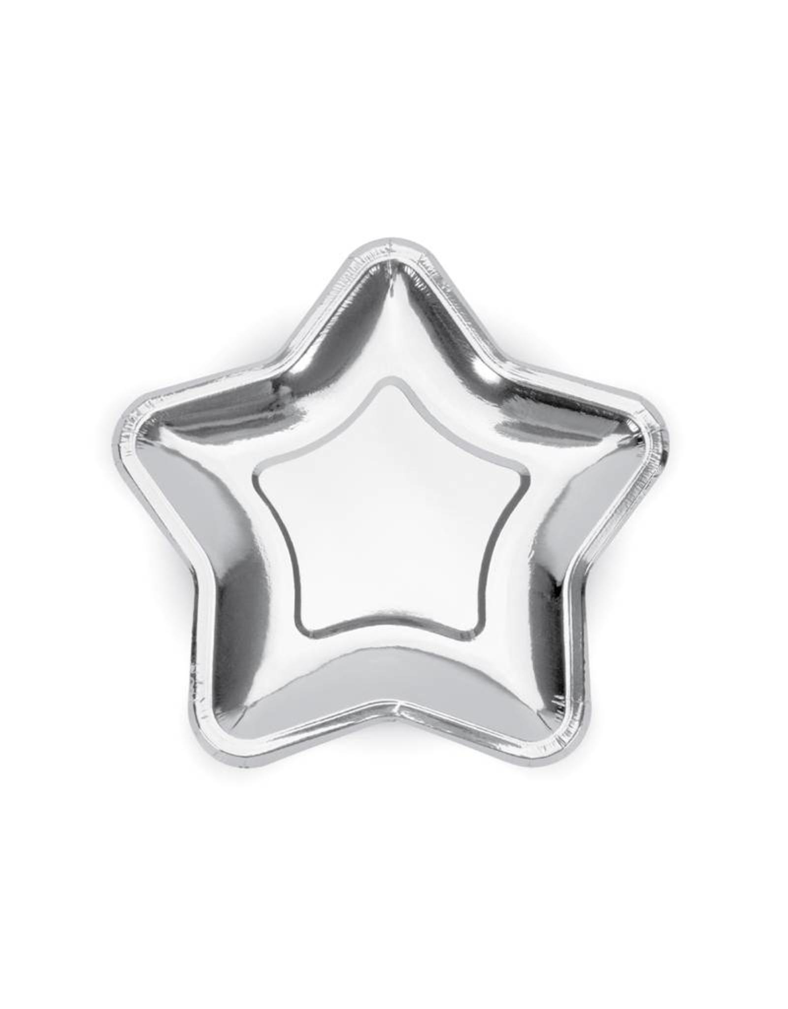 Papieren bordje ster zilver | 8 stuks